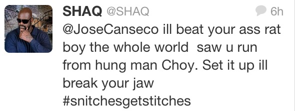 Shaquille O'Neal Tweet To Jose Canseco