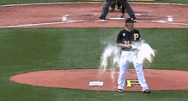 A J Burnett S Up The Rosin Bag For Second Time This Season