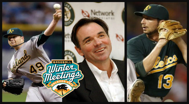 A's general manager Billy Beane, center, traded Brett Anderson, left, and Jerry Blevins, right, during the Winter Meetings.