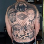 Now that's some kind of tattoo. I think showing that kind of commitment puts this guy in the lead for biggest Dodger fan of the year.