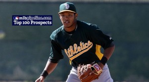 Shortstop Addison Russell was the only A's minor leaguer to make it into MLB.com's list of top 100 prospects.