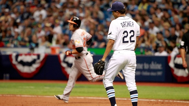 Chris Archer was the losing pitcher after giving up three earned runs to the Baltimore Orioles.