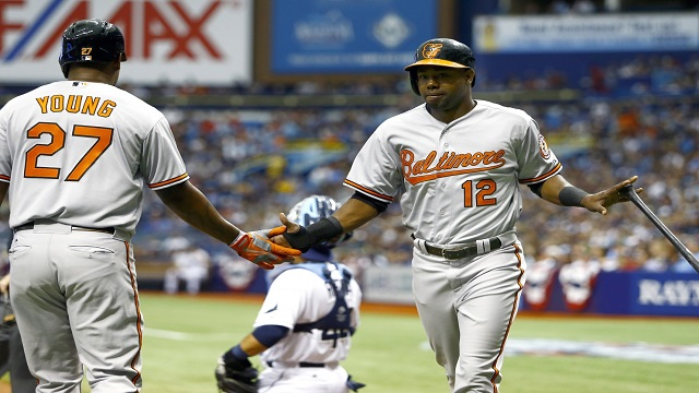 Alejandro De Aza is greeted by Delmon Young after hitting a home run.