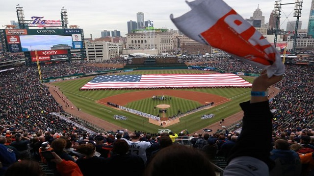 Comerica Park gets ready for Opening Day 2015.