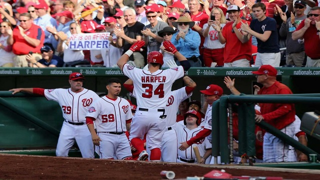 Bryce Harper gets the Nationals on the board with a solo home run.