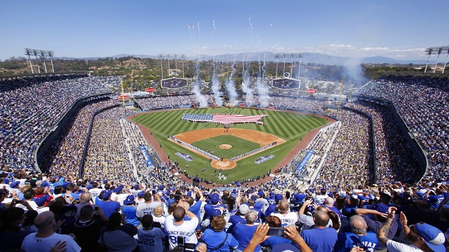 Dodger Stadium gets ready for Opening Day.
