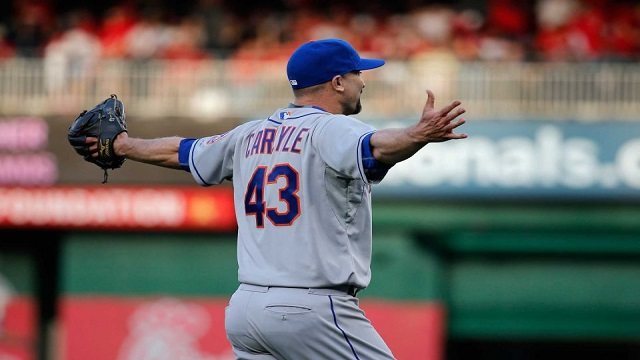 Buddy Carlyle celebrates as he earns his first save of the season for the Mets.