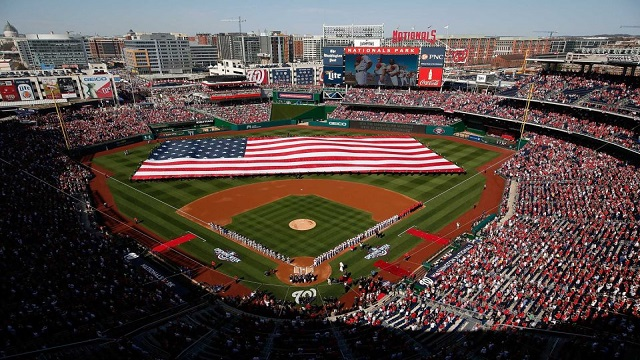 Nationals Park stands for the Opening Day ceremony.