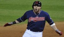 Jun 18, 2013; Cleveland, OH, USA; Cleveland Indians second baseman Jason Kipnis (22) celebrates his RBI-double in the eighth inning against the Kansas City Royals at Progressive  Field. Mandatory Credit: David Richard-USA TODAY Sports