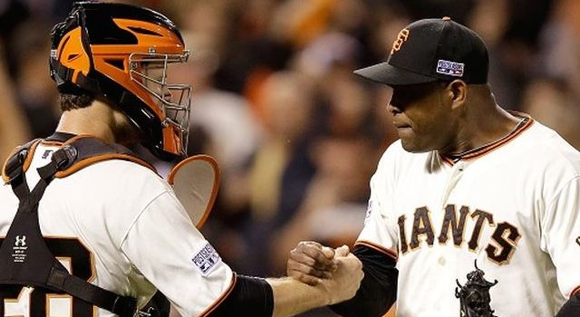 Santiago Casilla and Buster Posey