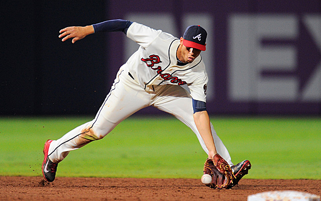 Jul 28, 2013; Atlanta, GA, USA; Atlanta Braves shortstop <a rel=