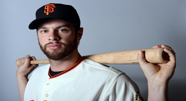 Feb 23, 2014; Scottsdale, AZ, USA; San Francisco Giants first baseman Brandon Belt (9) poses for a photo during photo day at Scottsdale Stadium. Mandatory Credit: Joe Camporeale-USA TODAY Sports