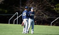 Lucien Gordley-Smith (right) and Emery Dinsmore (left) during a game in Readfield, Maine on May 11th, 2016. Photo by Beth Anne Gordley.