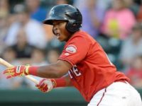 Rafael Devers, the current #3 Red Sox prospect and potential trade target, while playing for the Greenville Drive (A) in 2016.
