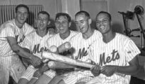 Original Mets (l. to r.) Rod Kanehl, Jim Hickman, Gil Hodges, Frank Thomas and Charlie Neal.