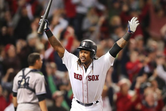 Hanley Ramirez celebrates his walk home run Thursday evening against the New York Yankees that completed the Boston Red Sox comeback.