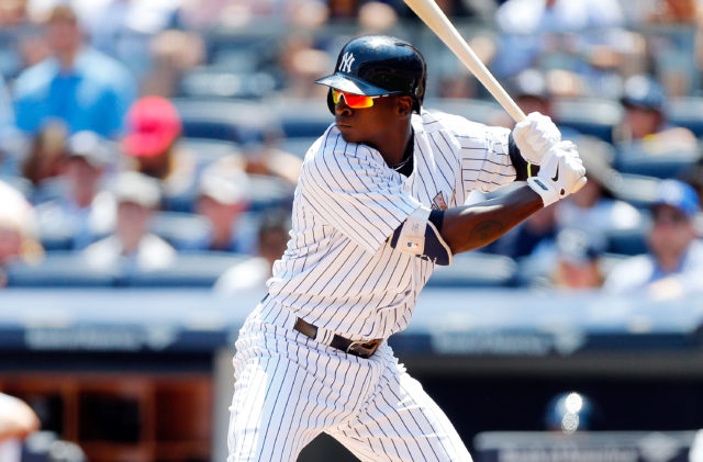 NEW YORK, NY - MAY 25: Didi Gregorius #18 of the New York Yankees in action against the Kansas City Royals at Yankee Stadium on May 25, 2015 in the Bronx borough of New York City. The Yankees defeated the Royals 14-1. (Photo by Jim McIsaac/Getty Images)